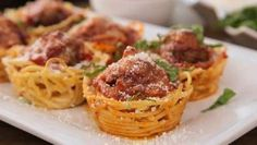Spaghetti and Meatballs as Appetizers