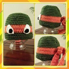 Crochet Hat - Michaelangelo Ninja Turtle