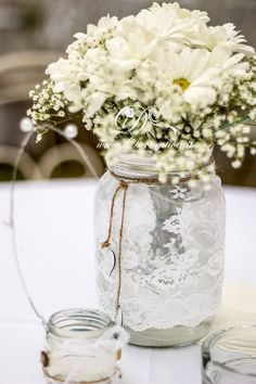 Achieve this beautiful lace look.  We rent the clear canning jars and jelly jars pictured here. Oh Happy Days Rentals www.ohhappydaysrentals.com Like and follow us on Facebook!