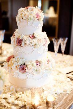 traditional wedding cake   Traditional Wedding Cake With Fresh Roses - Elizabeth Anne Designs ...