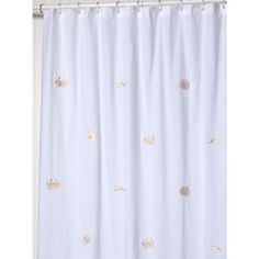 Embroidered Cotton Shower Curtain #sealife #gold #embroideredlinens #beachtheme