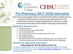Attention CCC Pre-Pharmacy Students:  An exciting opportunity for a pre-pharmacy internship! Applications are due by Friday, August 18.    Click the link below for more details and for the application: http://www.cloviscollege.edu/index.aspx?page=1495