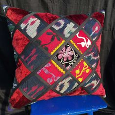 This gorgeous Patchwork Suzani Pillow fashioned out of vintage ethnic textiles from Central Asia. These uzbek textile are great examples of the folk art of an ancient tribal culture. Each pillow cover is unique. Ethnic Decor, Pillow Sale, Central Asia, Embroidered Silk, Ikat, Folk Art, Boho Fashion, Boho Chic, Pillow Covers
