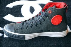 Contrast Color CT Converse Chuck Taylor All Star Black Zip High Tops Red Black Mens Canvas Sneakers Mode Shoes, Sneakers Mode, Sneakers Fashion, Men's Shoes, Fashion Shoes, Shoe Boots, Mens Fashion, Converse All Star, Converse Chucks