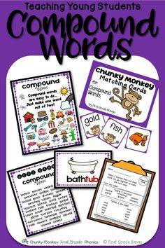 Engaging unit for introducing fun compound words to young readers!  Includes matching cards, printables, and a colorful mini-book for student reading and enjoyment.