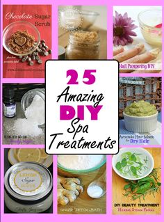 DIY Spa Treatments Feel Pampered on a budget! Wonderful list of 25 DIY Spa Treatments that cost less than the fancy treatments at a spa, but feel like you spent hundreds! Homemade Spa Treatments, Diy Beauty Treatments, Home Spa Treatments, Homemade Facials, Hair Treatments, Diy Spa Day, Spa Day At Home, Spa Tag, Ginger Detox