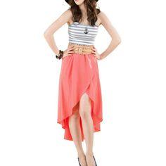 Allegra K Women Asymmetrical High Low Hem Elastic Waistband Ruffled Skirt | Love yourself