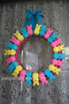 Cute, easy Easter crafts...what I like about the peeps Easter wreath is I will not have to store it for next year and it is very inexpensive as an Easter craft