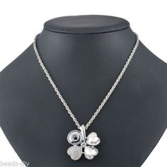 BD 1PC Silver Plated Clover White Rhinestone Snap Button Pendant Necklace 54cm