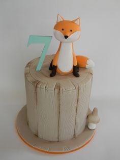 Into the woods, simple woodland fox birthday cake. Created by Just call me Martha