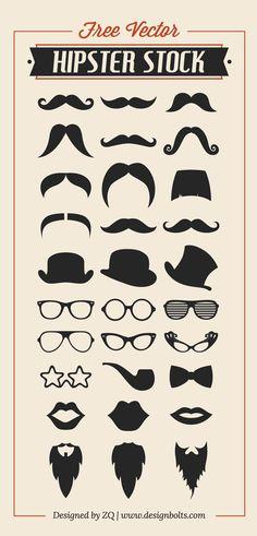 Free-Vector-Hipster-Stock-Mustache-Beard-Charlie-Hat-RayBan-Glasses.jpg 600×1,250 pixeles