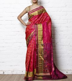 Magenta & Pink Handwoven Single Ikat Patola Saree