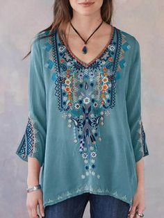 ITALY MODA Bluse BLÜTEN Tunika Paisley Hemd Shirt ROYAL BLAU M L 38 40 42 H//M-78