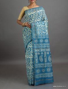 Priyanka Cool Blue with White #BatikPrintSaree