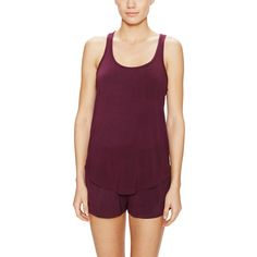 Elle Macpherson Intimates Women's Buttercup Glow Tank Top - Purple ($15) ❤ liked on Polyvore featuring tops, purple, racerback tank, purple tank top, racerback top, racer back tank and racer back top