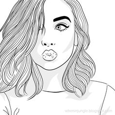 cool coloring pages for teenage girls Tumblr Girl Drawing, Tumblr Sketches, Tumblr Drawings, Girly Drawings, Drawing Sketches, Cool Girl Drawings, Cute Girl Drawing, Drawing Style, Drawing Art