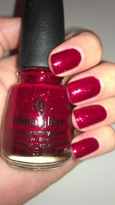 Red sparkly nail polish, love...