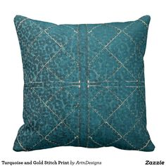 Turquoise and Gold Stitch Print Throw Pillow
