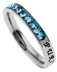 This is the most beautiful purity ring I have ever seen! And it has my birthstone on it! I keep hoping and praying that one day this ring will be on my finger so I can show everyone how much staying abstinent means to me. <3