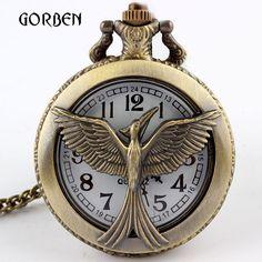 Bronze Retro Hunger Games Pocket Watch Round Dial Arabic Number Vintage Quartz Pocket fob Watches Gifts Relogio De Bolso