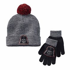 8663116d947e6 Boys Disney Star Wars Darth Vader Grey Knit Beanie Hat   Gloves Set Size 7-