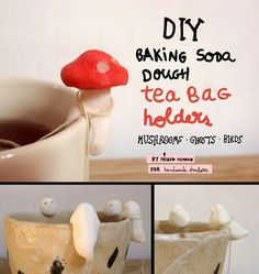 Make these super cute tea bag holders in no time at all, with three simple ingredients from the kitchen—baking soda, water, and cornstarch!