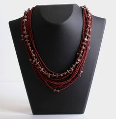 Rhodonite Stones and  Seed Beads Necklace by LadyLiJewellery, $45.00