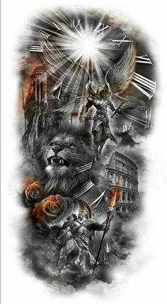 Celtic Warrior Tattoos, Warrior Tattoo Sleeve, Angel Warrior Tattoo, Animal Sleeve Tattoo, Lion Tattoo Sleeves, Realistic Tattoo Sleeve, Cool Half Sleeve Tattoos, Dark Tattoos For Men, Arm Tattoos For Guys
