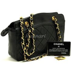 AUTHENTIC CHANEL SMALL CHAIN HANDBAG LEATHER BLACK QUILTED MINI PURSE 196 #CHANEL #EveningBag