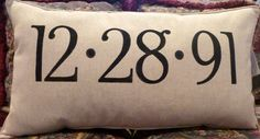 STENCILED ANNIVERSARY PILLOW by BurlapEtc on Etsy