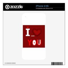 Typography I love you iPhone 4S Skin - Saint Valentine's Day gift idea couple love girlfriend boyfriend design