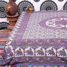 This tapestry is a creation of eastern motifs infused with modern concepts. These wonderful prints are a great way to add color to your bed,