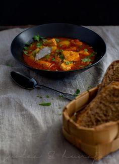 Mediterraen salmon soup with harissa paste