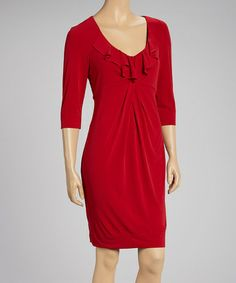 Take a look at this Red Ruffle Dress by Donna Ricco on #zulily today!