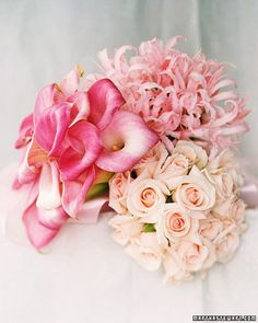 Give each bridesmaid a pink bouquet made from just one kind of flower; calla lilies, nerine lilies, and 'Valerie' roses