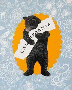 """I Love You California"" Blue Floral Print by Annie Galvin 3 Fish Studios"
