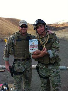 Chris Kyle, Dean Cain...holding Chris's book.