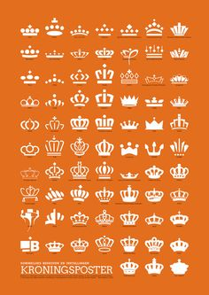 KRONINGSPOSTER - A poster by ii11 that gathers the crowns used in logos of Dutch companies that have earned the privilege of adding the Royal Crown to their own logo after being in business for more than 100 years and a leader in their field.