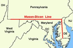 """""""A map of the original Mason-Dixon line -- essentially the borders of Maryland, Delaware and Pennsylvania. Confederate States Of America, Confederate Flag, Mason And Dixon, Missouri Compromise, Line Lesson, Harpers Ferry, Delaware River, Ohio River, Today In History"""