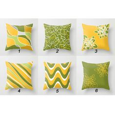 Throw Pillow Yellow Green Pillow Cover by DesignbyJuliaBars