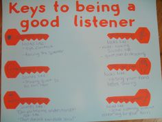 Keys to being a good listener Listening Skills Poster. Sometimes middle schoolers need a reminder of what it takes to be a good listener. This is a nice reminder to use, especially when conversations get spirited. We referenced my prototype of this poster a LOT last year. Unfortunately, I have to take it off my walls during testing due to speaking & listening standards.