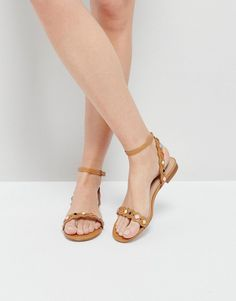 f2f7a8dc834 Get this ALDO s flat sandals now! Click for more details. Worldwide  shipping. ALDO Amelie Tan Embellished Flat Sandals - Tan  Sandals by ALDO