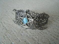Triple Moon Pentacle Cuff Bracelet wiccan jewelry by Sheekydoodle