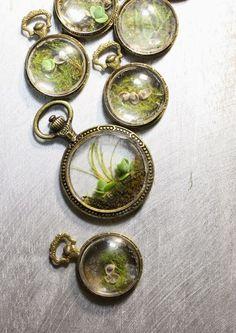 Steampunk terrarium pendants - the slug and the squirrel Resin Jewelry, Jewelry Crafts, Handmade Jewelry, Resin Crafts, Resin Art, Do It Yourself Jewelry, Terrarium Necklace, Mini Terrarium, Bijoux Diy