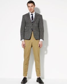 Chevron Riding Jacket, University-Stripe Oxford Shirt & Back-Strap Cuffed Twill Pants