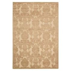 Rug with a hand-carved damask motif and light gold palette.     Product: RugConstruction Material: Acrylic and polyesterColor: Light goldFeatures:  Machine wovenWill add a distinctive flair to any setting Note: Please be aware that actual colors may vary from those shown on your screen. Accent rugs may also not show the entire pattern that the corresponding area rugs have.Cleaning and Care: Professional cleaning recommended