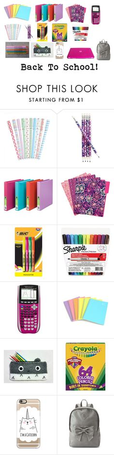 """""""Back To School Supplies"""" by jasmine-the-basic-penguin ❤ liked on Polyvore featuring interior, interiors, interior design, home, home decor, interior decorating, Vera Bradley, BIC, Sharpie and Casetify"""