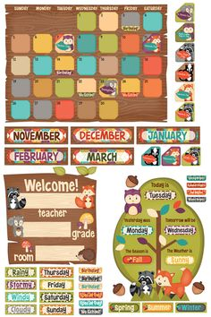 Woodland Tails Collection, Calendar Bulletin Board Set, 109 Pieces