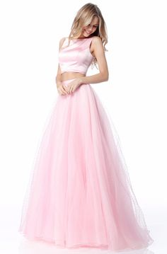 Sherri Hill 51895 Pink Two Piece Tulle Prom Dress Pink Prom Dresses, Tulle Prom Dress, Dressy Dresses, Club Dresses, Bridesmaid Dresses, Crop Dress, Buy Dress, Pink Two Piece, Pageant Gowns