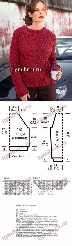 Красный пуловер с миксом выразительных узоров. Вязание спицами
